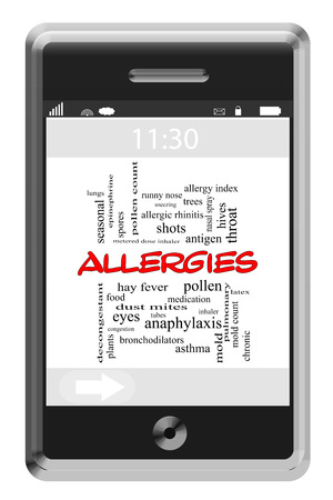 esporas: Alergias Palabra Nube Concepto de tel�fono con pantalla t�ctil con los t�rminos tales como polen, moho, esporas y mucho m�s.