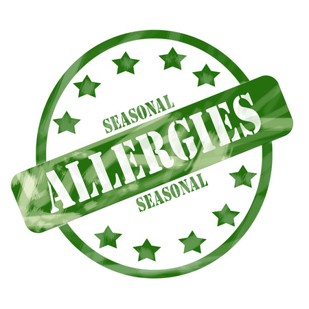 A green ink weathered roughed up circle and stars stamp design with the words SEASONAL ALLERGIES on it making a great concept.