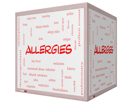 Allergies Word Cloud Concept on a 3D cube Whiteboard with great terms such as food, pollen, mold and more. photo