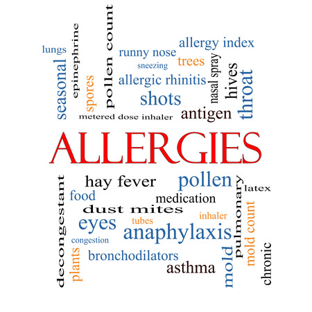 allergic foods: Allergies Word Cloud Concept with great terms such as food, pollen, mold and more.