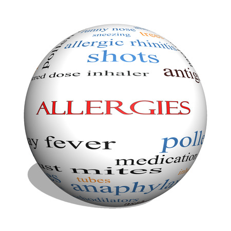 allergic foods: Allergies 3D sphere Word Cloud Concept with great terms such as food, pollen, mold and more. Stock Photo