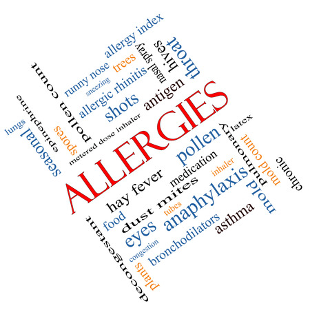 Allergies Word Cloud Concept angled with great terms such as food, pollen, mold and more. photo