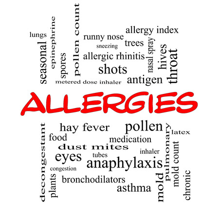 Allergies Word Cloud Concept in red caps with great terms such as food, pollen, mold and more. photo