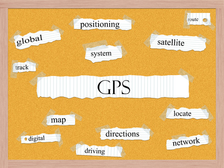 GPS Corkboard Word Concept with great terms such as global, satellite, route and more.