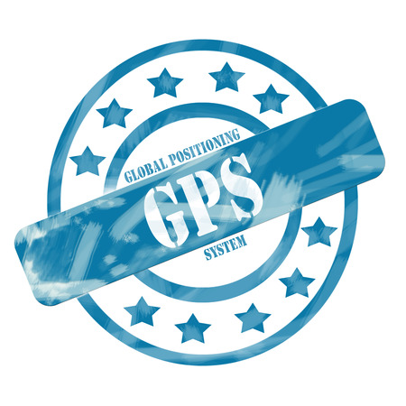 A blue ink weathered roughed up circles and stars stamp design with the word GPS on it making a great concept.