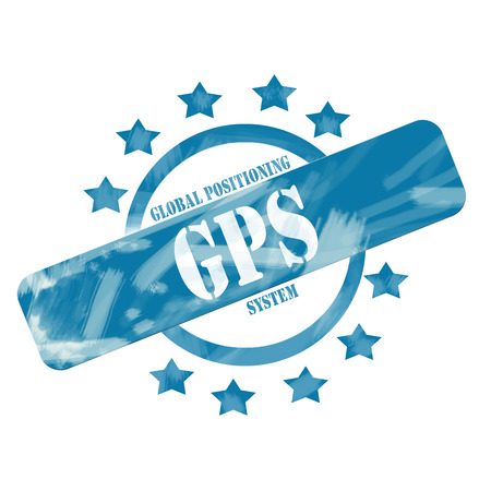 A blue ink weathered roughed up circle and stars stamp design with the word GPS on it making a great concept.