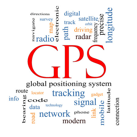 global positioning system: GPS Word Cloud Concept with great terms such as global, positioning, system and more.