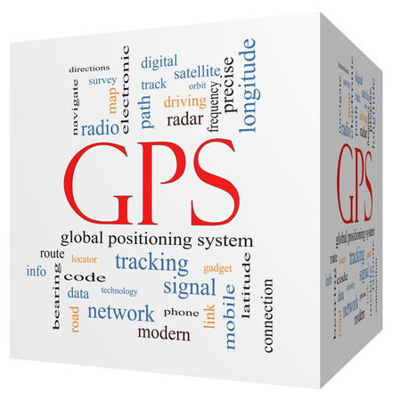 GPS 3D cube Word Cloud Concept with great terms such as global, positioning, system and more.