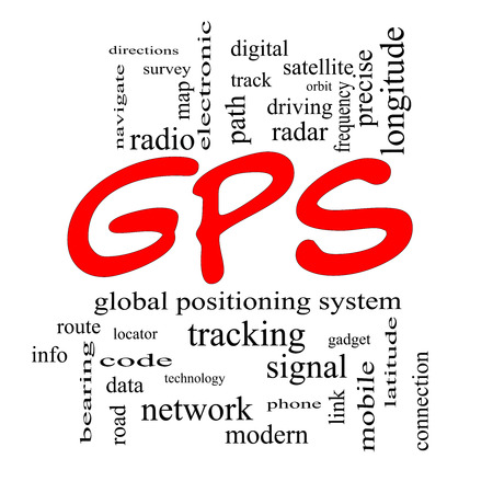 global positioning system: GPS Word Cloud Concept in red caps with great terms such as global, positioning, system and more. Stock Photo