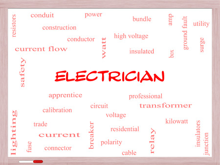 Electrician Word Cloud Concept on a Whiteboard with great terms such as voltage, apprentice, circuit and more. Stockfoto