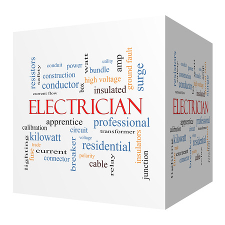 Electrician 3D cube Word Cloud Concept with great terms such as voltage, apprentice, circuit and more.