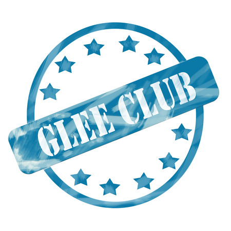 A blue ink weathered roughed up circle and stars stamp design with the words GLEE CLUB on it making a great concept. Stock Photo