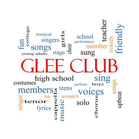 voices: Club Glee Palabra Nube Concepto con los t�rminos de la m�sica, cantar, voces y mucho m�s.