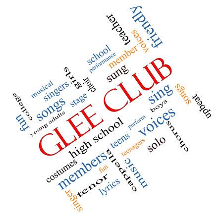 voices: Club Glee Palabra Nube Concepto en �ngulo con grandes t�rminos como la m�sica, cantar, voces y mucho m�s.