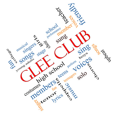 Glee Club Word Cloud Concept angled with great terms such as music, sing, voices and more.