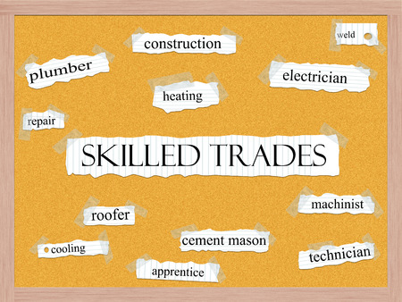 hábil: Skilled Trades Corkboard Word Concept with great terms such as heating, roofer, machinist and more. Banco de Imagens