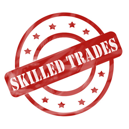 skillful: A red ink weathered roughed up circles and stars stamp design with the words SKILLED TRADES on it making a great concept. Stock Photo