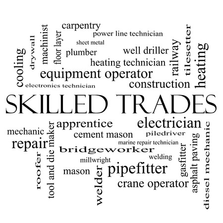 Skilled Trades Word Cloud Concept in black and white with great terms such as plumber, welding, mason and more.