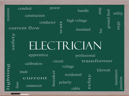Electrician Word Cloud Concept on a Blackboard with great terms such as voltage, apprentice, circuit and more.