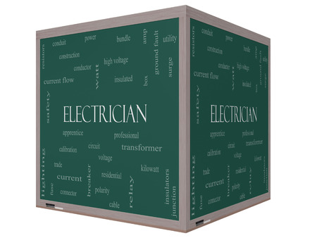 Electrician Word Cloud Concept on a 3D cube Blackboard with great terms such as voltage, apprentice, circuit and more.