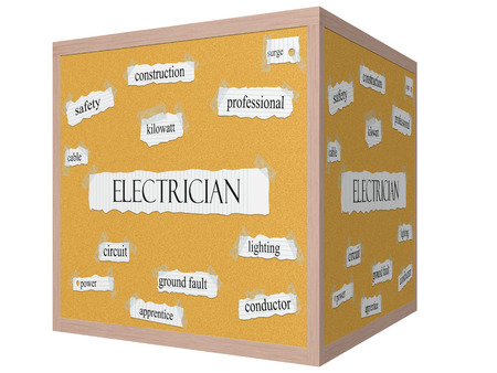 surge: Electrician 3D cube Corkboard Word Concept with great terms such as power, surge and more. Stock Photo