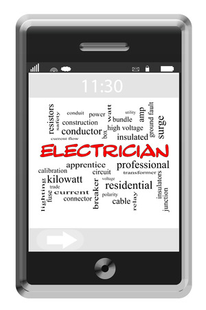 Electrician Word Cloud Concept of Touchscreen Phone with great terms such as power, circuit and more. Stockfoto