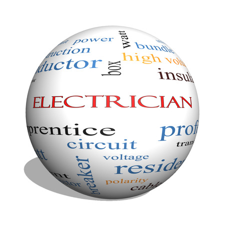 Electrician 3D sphere Word Cloud Concept with great terms such as voltage, apprentice, circuit and more.
