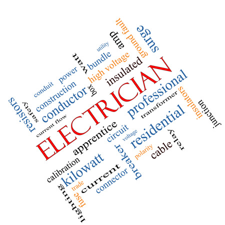 Electrician Word Cloud Concept angled with great terms such as voltage, apprentice, circuit and more.