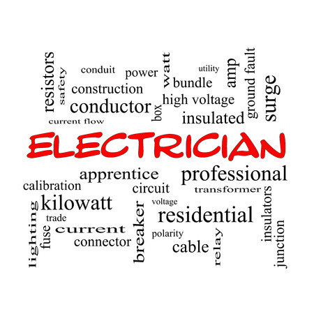 Electrician Word Cloud Concept in red caps with great terms such as voltage, apprentice, circuit and more.