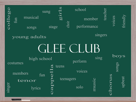 Glee Club Word Cloud Concept on a Blackboard with great terms such as music, sing, voices and more.