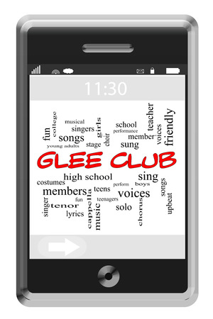 Glee Club Word Cloud Concept of Touchscreen Phone with great terms such as songs, music and more.