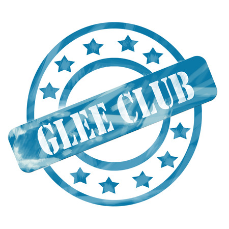 A blue ink weathered roughed up circles and stars stamp design with the words GLEE CLUB on it making a great concept.