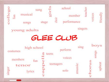 voices: Club Glee Palabra Nube Concepto en una pizarra con los t�rminos de la m�sica, cantar, voces y mucho m�s. Foto de archivo