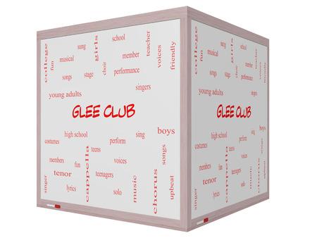 letras musicales: Club Glee Palabra Nube Concepto en una pizarra cubo 3D con los términos de la música, cantar, voces y mucho más. Foto de archivo