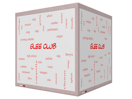lyrics: Glee Club Word Cloud Concept on a 3D cube Whiteboard with great terms such as music, sing, voices and more.