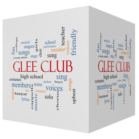 letras musicales: Glee Club 3D cube Palabra Nube Concepto con los términos de la música, el canto, voces y mucho más. Foto de archivo