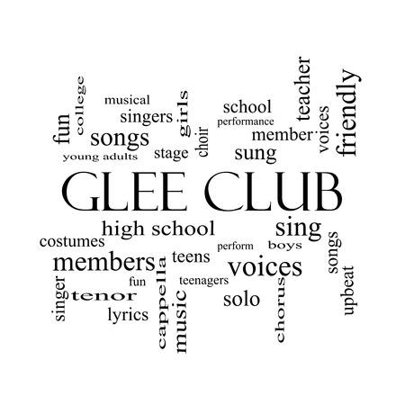voices: Glee Club de la Palabra Nube Concepto de blanco con grandes t�rminos como la m�sica y el negro, cantar, voces y mucho m�s.