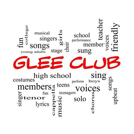 voices: Glee Club de la Palabra Nube Concepto de gorras rojas con los t�rminos como la m�sica, cantar, voces y mucho m�s. Foto de archivo