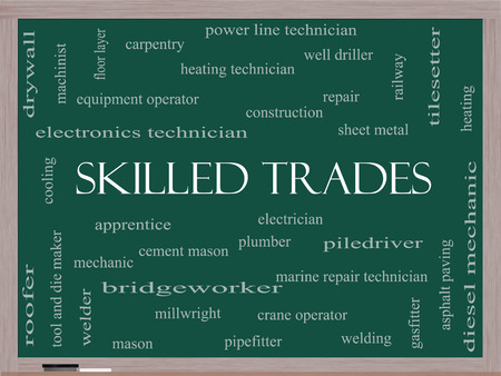 skilled operator: Skilled Trades Word Cloud Concept on a Blackboard with great terms such as plumber, welding, mason and more.