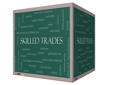 skilled operator: Skilled Trades Word Cloud Concept on a 3D cube Blackboard with great terms such as plumber, welding, mason and more.