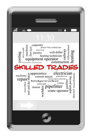 Skilled Trades Word Cloud Concept of Touchscreen Phone with great terms such as heating, plumber, roofer and more.