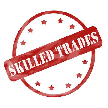 빨간 잉크 풍 화 거친 원 및 별 스탬프 디자인 좋은 개념을 그것에 그것에 단어를 가진 숙련 된 무역.