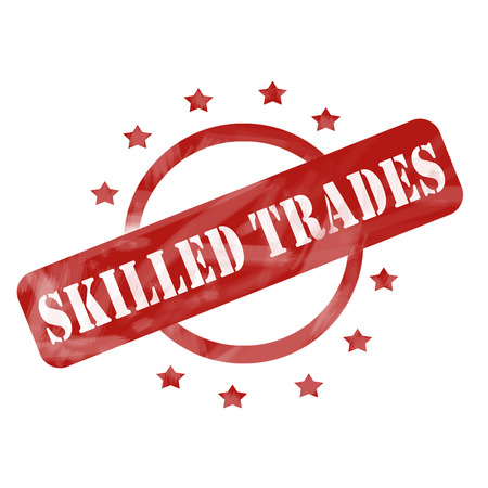 skillful: A red ink weathered roughed up circle and stars stamp design with the words SKILLED TRADES on it making a great concept.