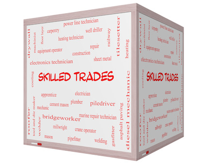 tool and die: Skilled Trades Word Cloud Concept on a 3D cube Whiteboard with great terms such as plumber, welding, mason and more.