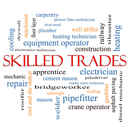 millwright: Skilled Trades Word Cloud Concept with great terms such as plumber, welding, mason and more. Stock Photo