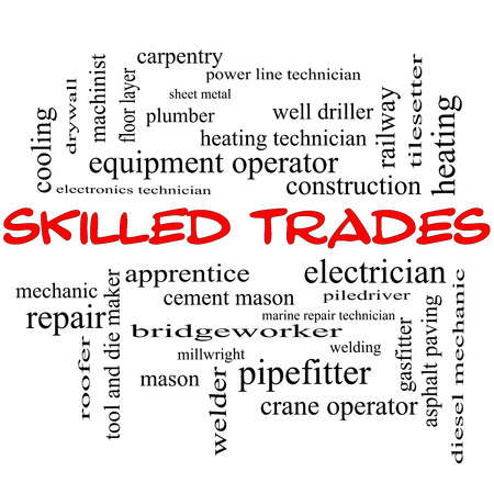 Skilled Trades Word Cloud Concept in red caps with great terms such as plumber, welding, mason and more. Stock Photo