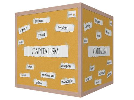 capitalismo: El capitalismo 3D cube Corkboard Palabra concepto con t�rminos de la talla mundial, la demanda, la libertad y m�s.
