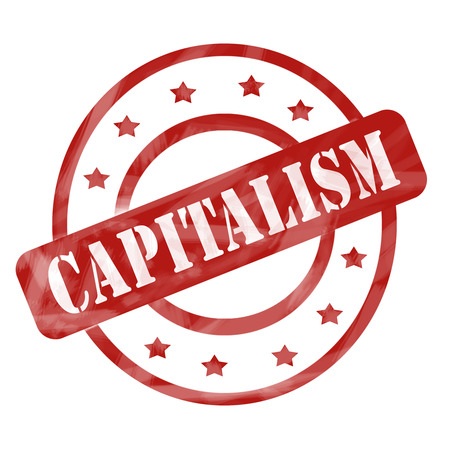 capitalism: A red ink weathered roughed up circles and stars stamp design with the word CAPITALISM on it making a great concept. Stock Photo