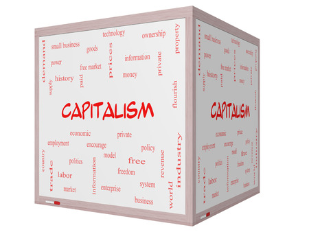 Capitalism Word Cloud Concept on a 3D cube Whiteboard with great terms such as economic, private, free and more.