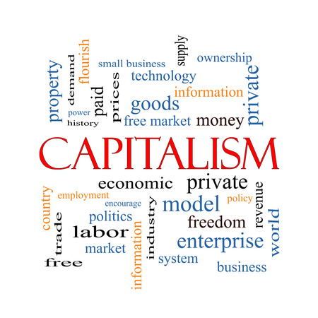 Capitalism Word Cloud Concept with great terms such as economic, private, free and more. photo